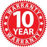 10 year warranty red sign, vector illustration. 10 year warranty red sign, vector royalty free illustration