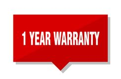 1 year warranty price tag. 1 year warranty red square price tag Stock Image