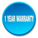 1 year warranty button. 1 year warranty round button isolated on white background. 1 year warranty Royalty Free Illustration