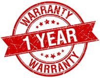 1 year warranty stamp. 1 year warranty round grunge vintage ribbon stamp. 1 year warranty Royalty Free Illustration