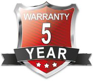 5 year warranty shield web icon badge. Modern shield web icon on white Backgroud Royalty Free Stock Photo