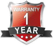 1 year warranty shield web icon badge. Modern shield web icon on white Backgroud Stock Images