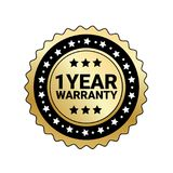 1 Year Warranty Sign Isolated Golden Mark Icon. Vector Illustration Royalty Free Stock Image