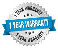 1 year warranty. Silver badge with blue ribbon Stock Illustration