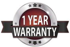 1 year warranty silver metallic round seal badge. Metallic round seal badge on white background Stock Photos