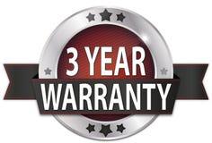 3 year warranty silver metallic round seal badge. Metallic round seal badge on white background Stock Photos