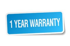 1 year warranty sticker. 1 year warranty square sticker isolated on white background. 1 year warranty vector illustration