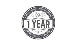 1 year warranty stamp. 1 year warranty balck stamp logo  guarantee Royalty Free Stock Photo
