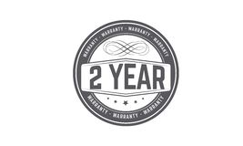 2 year warranty stamp. 2 year warranty balck stamp logo vector guarantee Stock Images