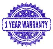 Grunge 1 YEAR WARRANTY Stamp Seal. 1 YEAR WARRANTY stamp imprint with scratched style. Blue vector rubber seal print of 1 YEAR WARRANTY title with scratched vector illustration