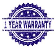 Grunge Textured 1 YEAR WARRANTY Stamp Seal. 1 YEAR WARRANTY stamp seal watermark with distress style. Blue vector rubber print of 1 YEAR WARRANTY caption with vector illustration