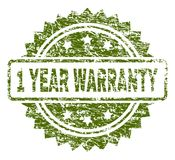 Grunge Textured 1 YEAR WARRANTY Stamp Seal. 1 YEAR WARRANTY stamp seal watermark with rubber print style. Green vector rubber print of 1 YEAR WARRANTY tag with stock illustration