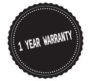 1-YEAR-WARRANTY text, on black sticker stamp. Royalty Free Stock Photo