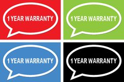1 YEAR WARRANTY text, on ellipse speech bubble sign. Royalty Free Stock Photo