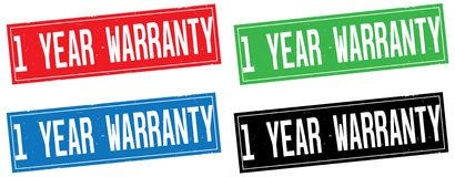 1 YEAR WARRANTY text, on rectangle stamp sign. Royalty Free Stock Photography