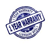 1 year warranty word with blue round stamp. 3D rendering stock illustration