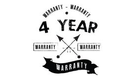 4 year warranty. Black stamp vector Stock Images