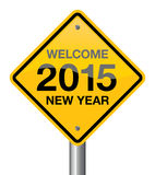 Year 2015. Welcome 2015 new year road sign royalty free illustration