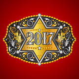 2017 year western cowboy belt buckle with sheriff badge vector design. Eps available Stock Photos