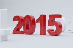 2015 year on white background. 3d illustration of 2015 year on white background. Soft focus Stock Images
