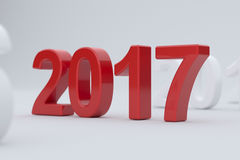 2017 year on white background. Soft focus. 3d illustration of 2017 year on white background. Soft focus Royalty Free Stock Photo