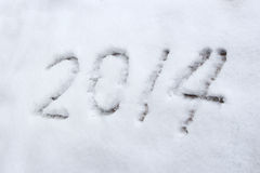 Year 2014. Winter Snow of Text 2014 Stock Photo