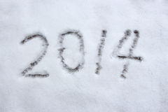 Year 2014. Winter Snow of Text 2014 Royalty Free Stock Image