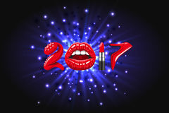 Year 2017 woman things. 2017 year, woman things. Red glossy lips of open mouth, makeup lipstick, high heels shoes on background of abstract light, bright flash Stock Photos