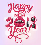 2017 year woman. 2018 year. woman things. Red glossy lips of open mouth, makeup lipstick, high heels shoes fashion sun glasses. Vector illustration Royalty Free Stock Photos