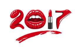 2017 year woman. 2017 year. woman things. Red glossy lips of open mouth, makeup lipstick, high heels shoes. Vector illustration Stock Photo