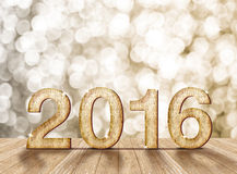 2016 year wood number in perspective room with sparkling bokeh w Stock Photography