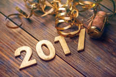 2017 year wood number Stock Image