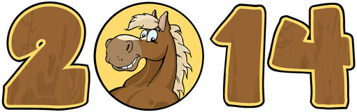 2014 Year Wood Numbers With Horse Face Over A Circ. 2014 Year Wood Cartoon Numbers With Horse Face Over A Circle Stock Illustration