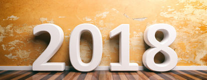 Year 2018 on wooden floor and painted wall. 3d illustration. New Year 2018 on wooden floor and old painted wall background. 3d illustration royalty free illustration