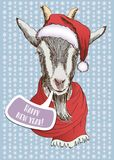 Year wooden goat. Happy New Year and Merry Christmas card. Hand drawn sketch portrait of sheep stock illustration