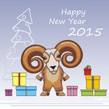 Year of wooden sheep. Greeting card for the New 2015. Year wooden sheep royalty free illustration