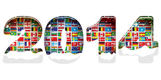 Year 2014. With world flags Stock Photos