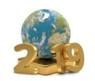 2019 year world planet earth 3d-illustration. Design royalty free illustration