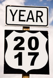 Year 2017 written on american roadsign Stock Image