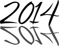 2014. Year 2014 written in artistic black on white font with a reflected shadow Royalty Free Stock Images