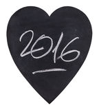 Year 2016 written on a heart-shaped slate Royalty Free Stock Image
