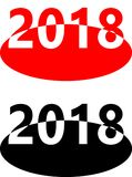 2018 on ellipse red and black Royalty Free Stock Photography