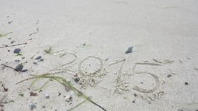 Year 2015 written in the sand Royalty Free Stock Photography