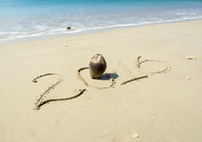 Year 2016 written in sand Royalty Free Stock Images