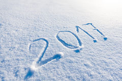 Year 2017 written in snow Royalty Free Stock Photos