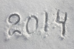 Year 2014 written in snow for the christmas Royalty Free Stock Images