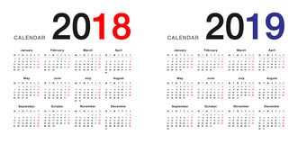 Year 2018 and Year 2019 calendar design template, simple and clean design. Calendar for 2018 and 2019 on White Background for organization and business. Week stock illustration