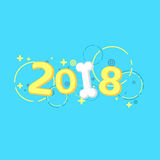 2018 year. The year of the yellow earth dog. Beautiful cartoon figures and a snow-white bone for the calendar. Multicolored patter. Happy New Year 2018. The year Stock Photo