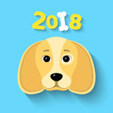 2018 year. The year of the yellow earth dog. Beautiful figures on a blue background. White bone. The falling shadow. Vector illust. Happy New Year 2018. The year Royalty Free Stock Photos