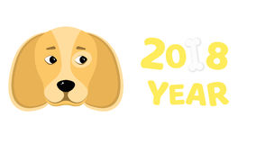 2018 year. The year of the yellow earth dog. Beautiful figures. Isolated on white background. White bone. The falling shadow. Vect. Happy New Year 2018. The year Royalty Free Stock Images